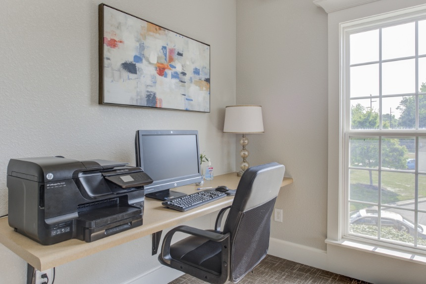 Home office in a Carmel apartment.