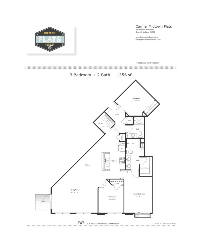 Whitestown 3 Bedroom Floor Plan Midtown Flats